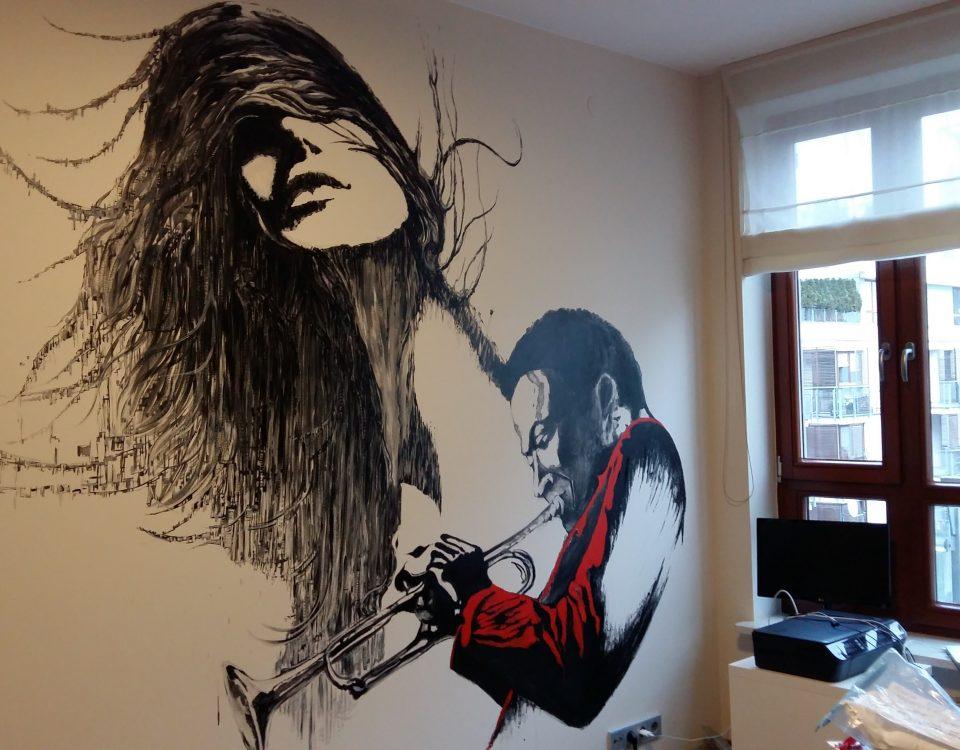 mural-muzyk i jego muza